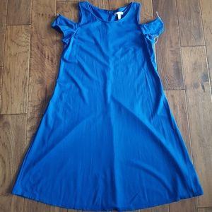 Kohls Dana Buchman Cold Shoulder Blue Dress Size M